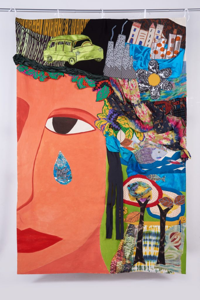 La tierra llora. Collage textil