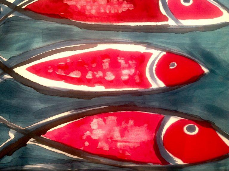 Fular peces. Crepe satin pintado a mano